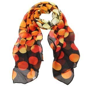 Accessories - Black Orange Red Yellow Circles Chiffon Wrap Scarf